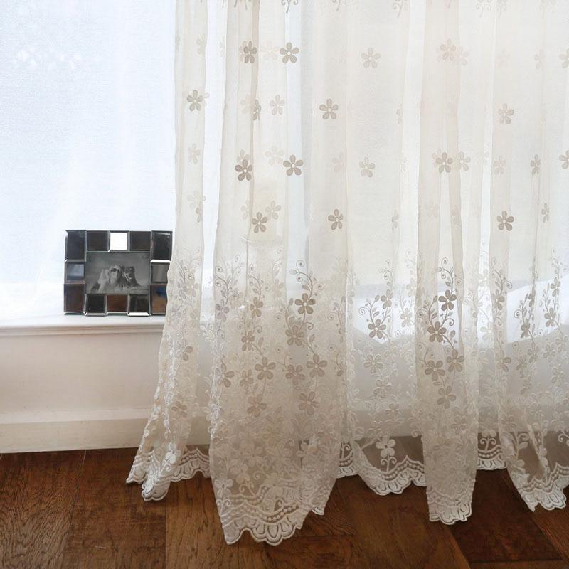 Cortinas transparentes de Jacquard blanco para dormitorio, delicado encaje Floral bordado, fondo translúcido, cortinas de tul, Panel Cortina HC007C