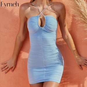 Fyrneh Bodycon Dresses for Women Summer 2021 New Hollow Out Blackless Sleeveless Ruched Party Mesh Dresses