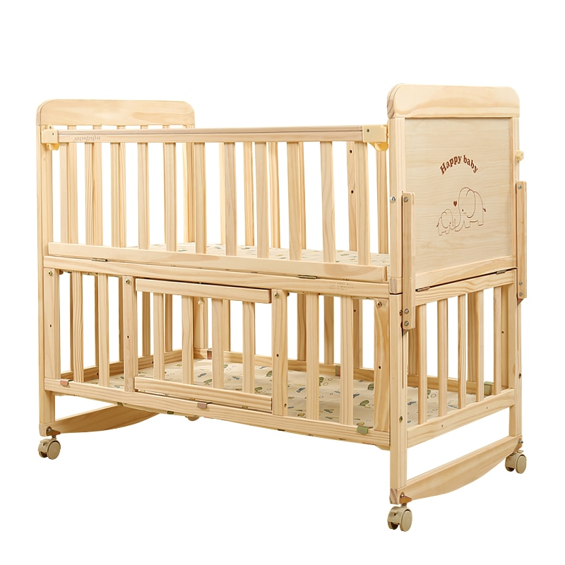 834 Baby Bed Solid Wood Babies' Bed Multi-functional BB Small Bed Newborn Children Side Bed European Style Folding Joint Bed