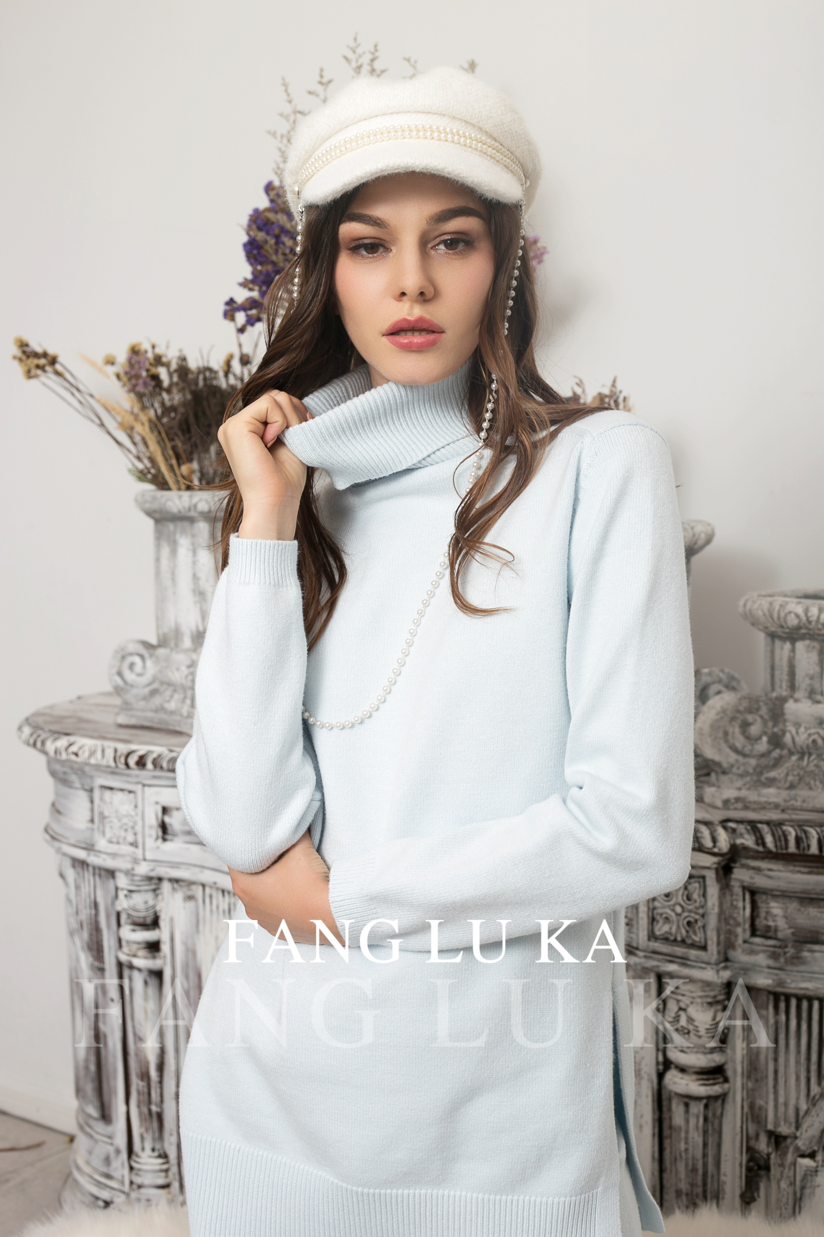 Women's Woolen Cashmere Knitted Warm Suit High Collar Sweater + Cashmere Pants Loose Style Two-piece Set Knit enlarge