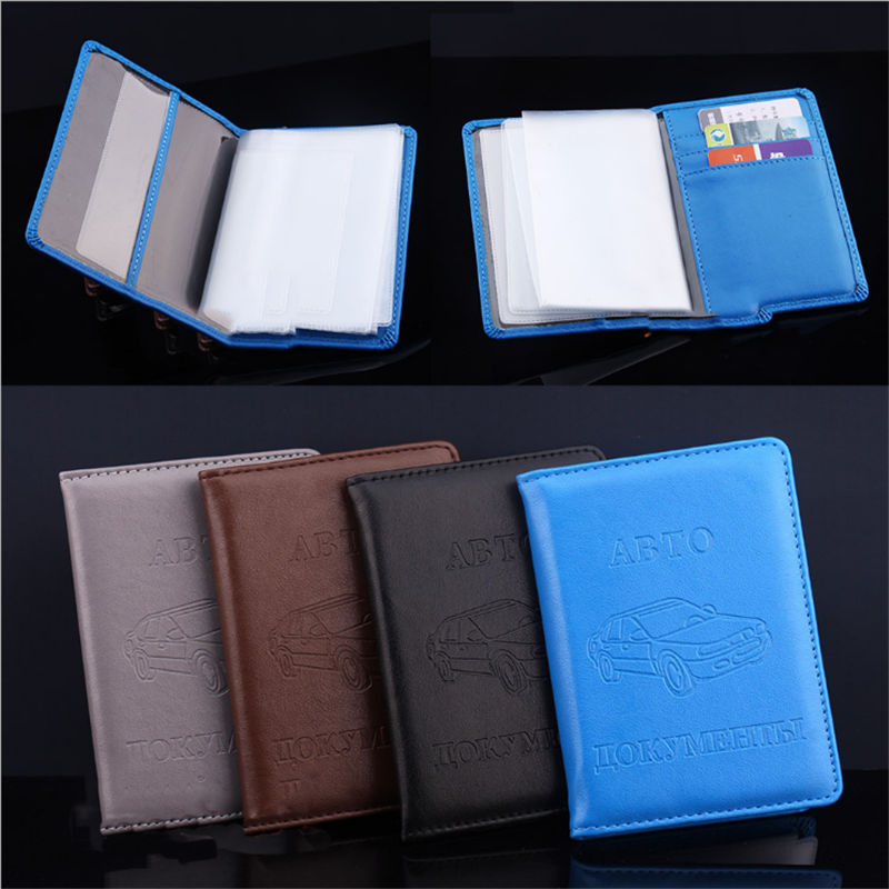 New Russian Auto Driver License Bag Wallet Passport Case PU Leather On Cover For Car Driving Documents Card Credit Holder Purse passport cover genuine leather driver license bag crazy horse leather car driving document credit card holder purse wallet case