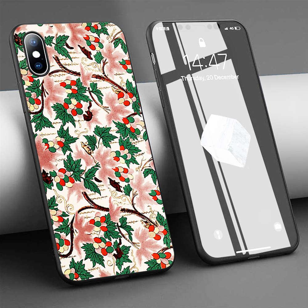 Coque chino adorno de flores 2 suave de la caja del teléfono de silicona para iPhone 11 Pro Max X 5S 6 6S XR XS Max 7 8 Plus caso de la cubierta del teléfono