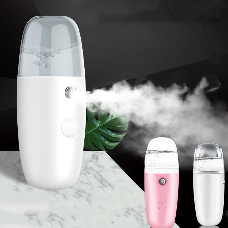 Cara de vapor de belleza de mano máquina de agua hidratante Nano iónica niebla humidificador Facial USB Facial Limpieza de poros herramienta