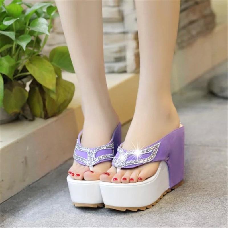 2020 mujeres Sommer Schuhe Frau Strass Flip-Flops Spuer de Keile plataforma modo Strand Sandalen Mujer Zapatos tamaño 35-39