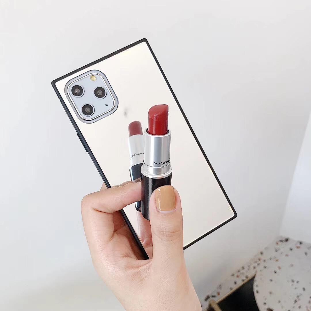 Funda con diseño de caja cuadrada de espejo de maquillaje de cristal a la moda para iPhone 11 Pro Max XS Max XR X 8 7 6 6S Plus, funda inteligente