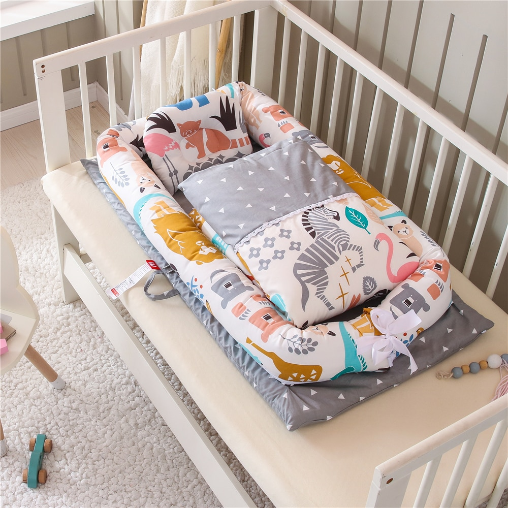 Portable Baby Nest Bed with Quilt Blanket Infant Nursery Carrycot Co Sleeper Bed Cotton Crib for Newborn Babynest Bedding Set