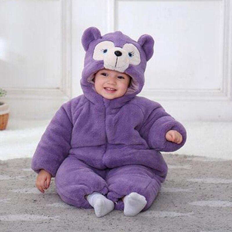 Детские пижамы кигуруми с фиолетовым медведем; Одежда для новорожденных; Комбинезоны с животными; Комбинезон для костюмированной вечеринк...