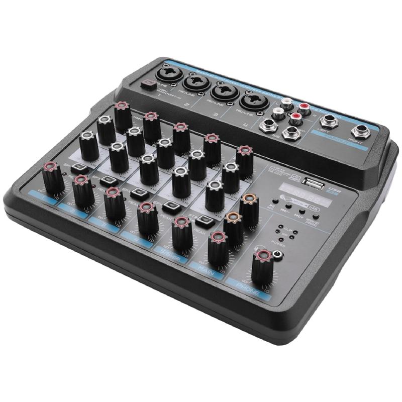 M-6 المحمولة خلاط صغير الصوت DJ وحدة التحكم مع كارت الصوت ، USB ، 48 فولت السلطة الوهمية للكمبيوتر تسجيل الغناء حفلة البث (الولايات المتحدة التوصي...