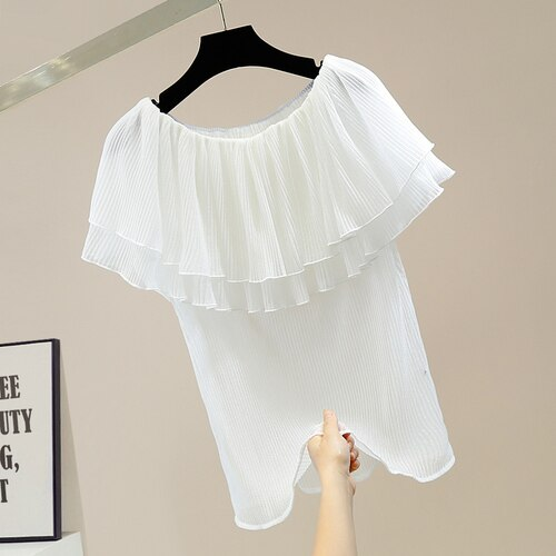بلوزات فام الحلو مطوي خياطة مكشكشة قبالة الرقبة مايكرو شفافة قميص المرأة مزاجه القمم Blusas الصيف 2021