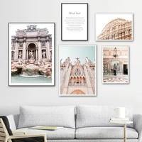 Toile dart mural Vintage Europe  batiment eglise palais  affiches et imprimes nordiques  images murales pour salon  decoration de la maison