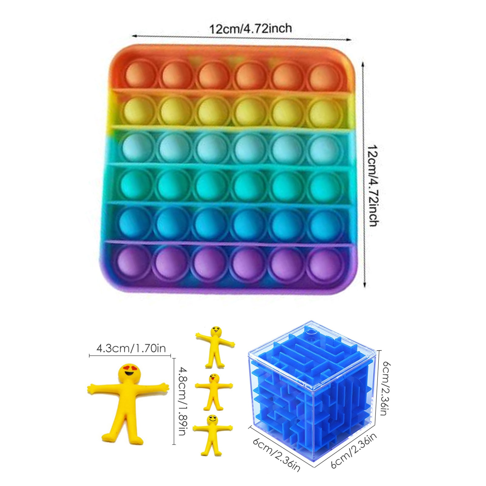 24 Pack Fidget Sensory Toy Set For Kids Adults Stress Relief Toy Autism Anxiety Relief Stress Push Pop Bubble Fidget Sensory Toy enlarge