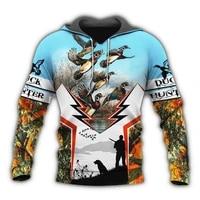 new fashion mens hoodie duck hunting 3d printed sweatshirt unisex harajuku casual zip hoodies mz0620