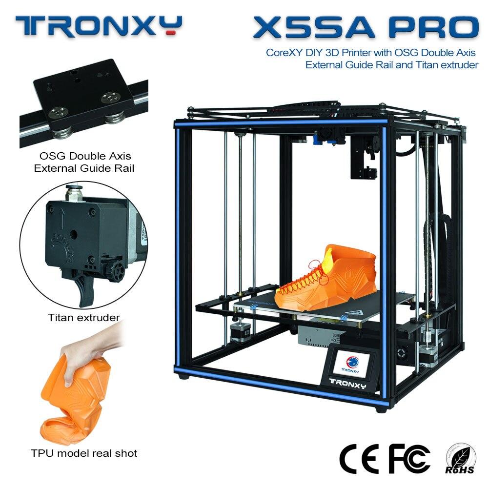 Tronxy-impresora 3D X5SA PRO CoreXY, máquina de impresión profesional con riel de guía de eje Titan, extrusora 3d con nivelación automática de cama