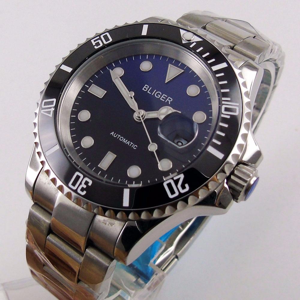 Safira cristal bliger 40mm gradiente preto azul data dial relógio masculino marcas luminosas miyota movimento automático relógio