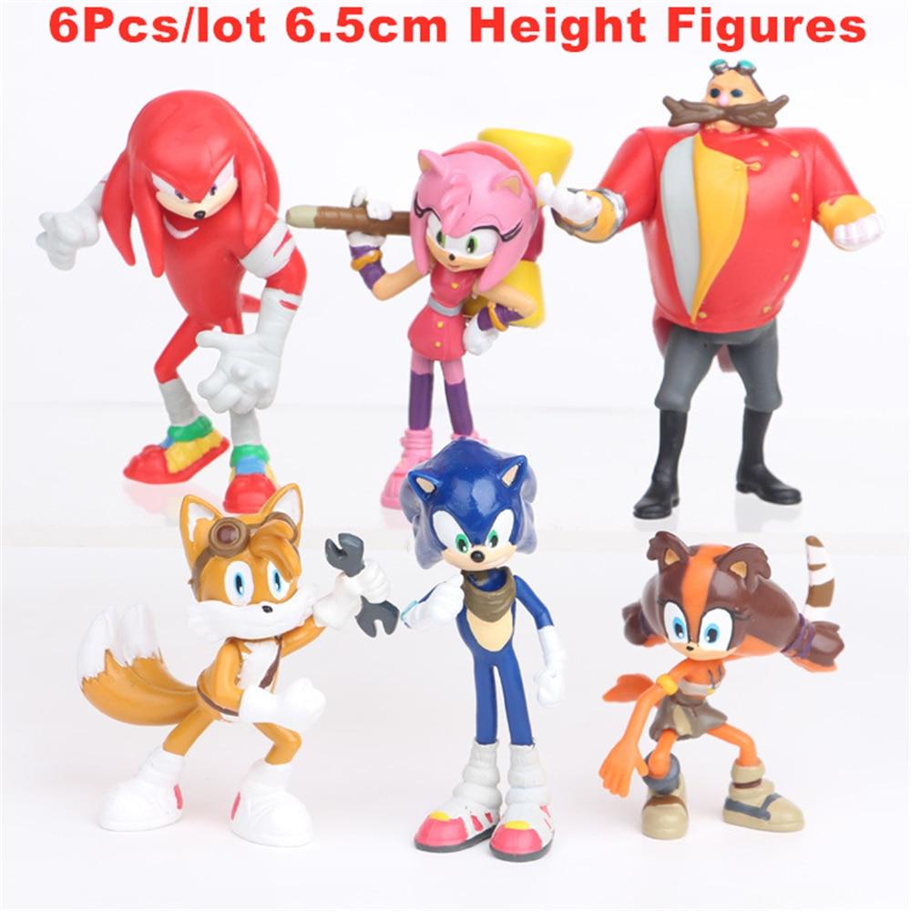 Figuras de acción de Sonic, 4 revsion, 6 uds., modelo en PVC de fantasía, Sonic, el Hedgehog, Shadow Tail, juguetes para niños, regalo