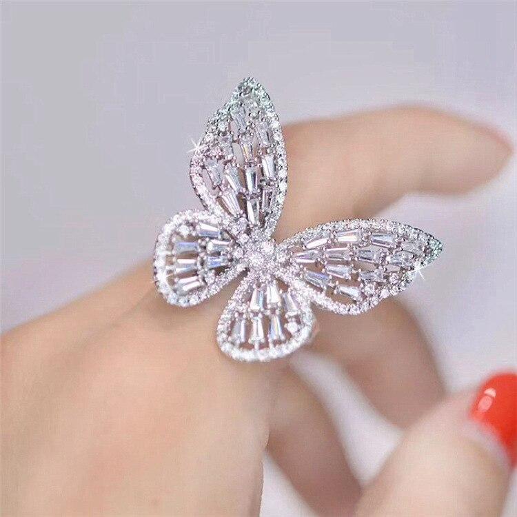 Anillo abierto de mariposa de gran circón, Zirconia cúbica de lujo, anillos de dedo elegantes para mujer, joyería para vestido de fiesta o cena CRL038