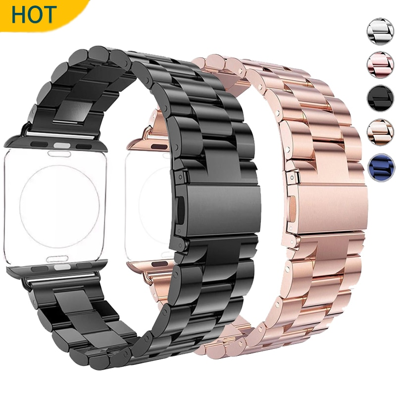 for watchband apple watch 42 mm 38 mm 44mm 40mm 4 3 2 1 band iwatch strap 316l link stainless steel link bracelet wrist belt Stainless Steel Strap for Apple Watch 5 Band 44mm 42mm Watchband Bracelet Band for Iwatch Series 3 4 Se 6 2 40mm 38mm Three Link