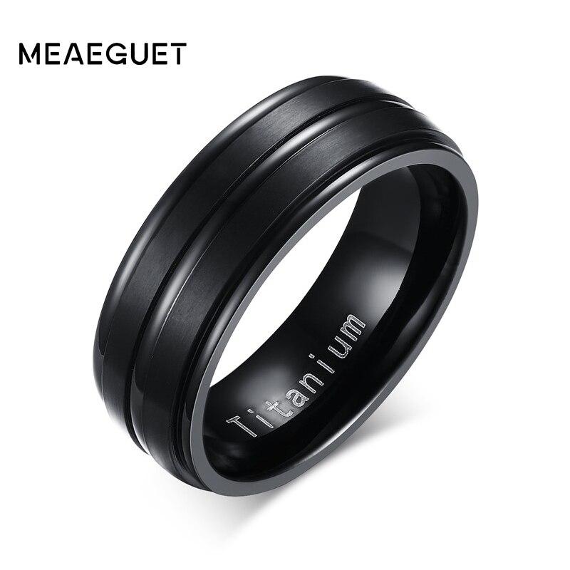 Anillo de compromiso Meaeguet clásico negro 100% de titanio carburo anillos de boda para hombres 3 líneas 8MM de ancho