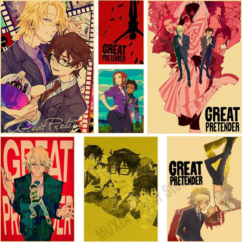 Постеры в винтажном стиле с изображением больших преданников, постеры из крафт-бумаги в стиле аниме для гостиной, бара, декоративные наклей...