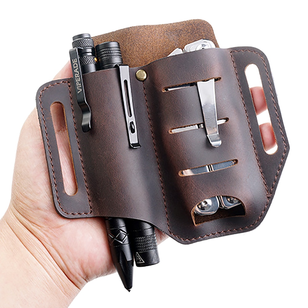 Leather Sheath for Leatherman Multitool Sheath EDC Pocket Organizer with Key Holder for Belt and Flashlight Outdoor Camping Tool