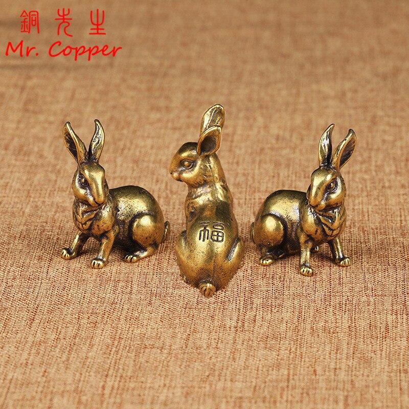 Antiguo Zodíaco de cobre bonito conejo estatua adornos 1 par Vintage latón sólido Animal miniatura figurita té mascota decoración de escritorio