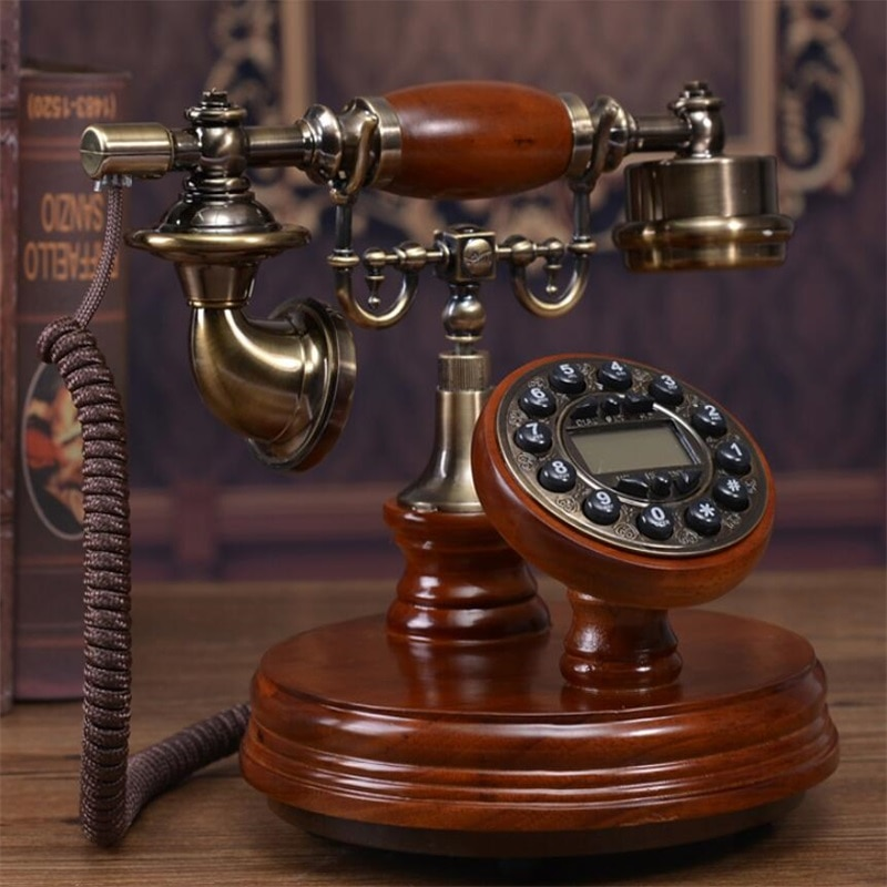 Solid Wood Digital Telephone Landline Classic Vintage Antique Telephone Old Fashioned Button Dial Home Telephone for Decoration