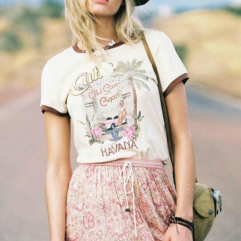 Summer  fashion vintage chic women coconut tree print short sleeve t-shirt  ladies tops  cottonTee shirt camiseta feminina