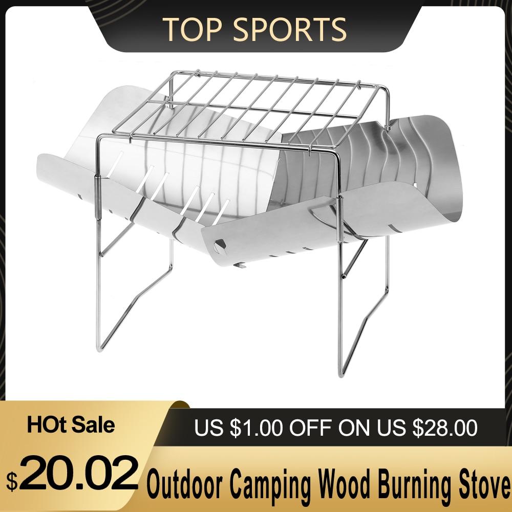 Parrilla de barbacoa de acero inoxidable plegable portátil 2 en 1 para acampar al aire libre, estufa de leña para acampar al aire libre