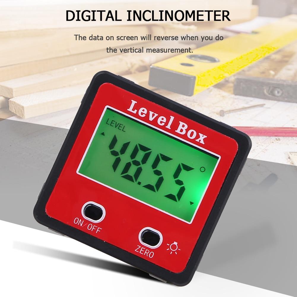 Transportador de red Digital de precisión instrumento de nivel de inclinómetro impermeable con caja con nivel de precisión de Base magnética