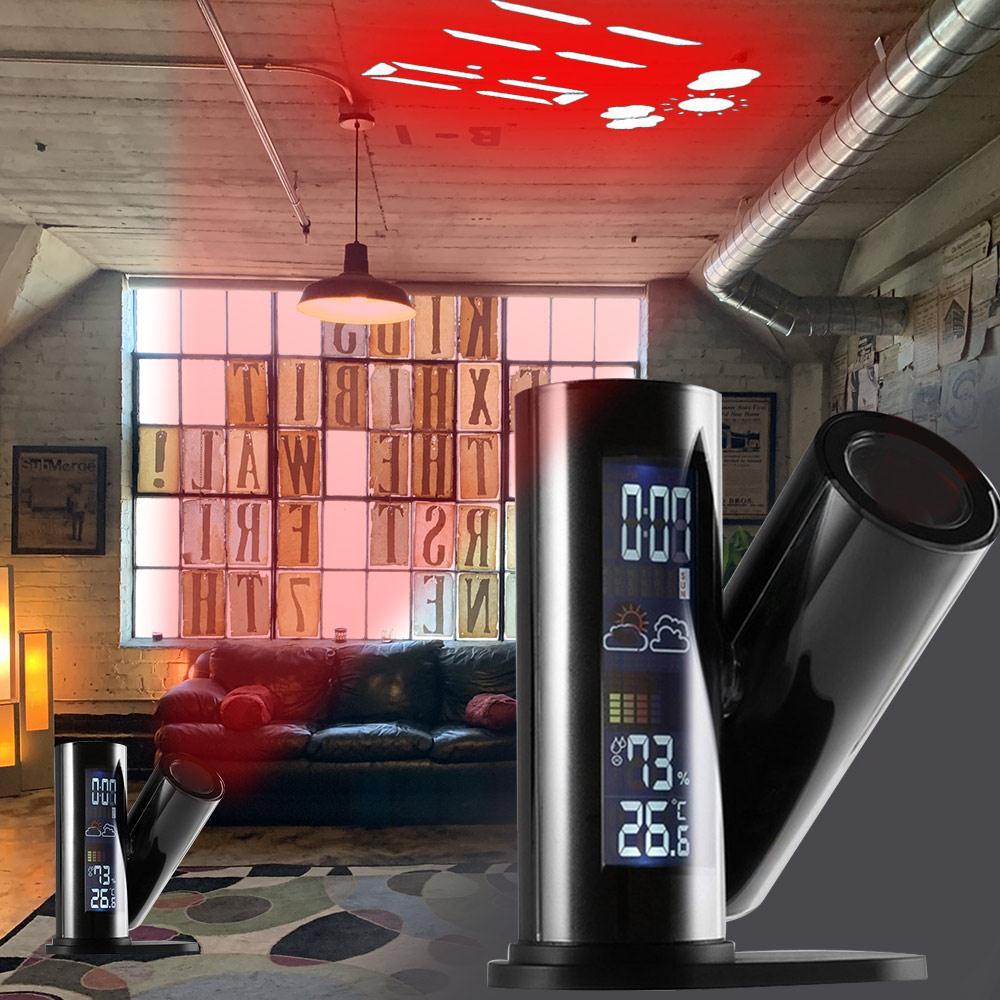Proyector despertador LED, termómetro multifunción, higrómetro, portátil, reloj despertador de proyección para el hogar, duradero, creativo