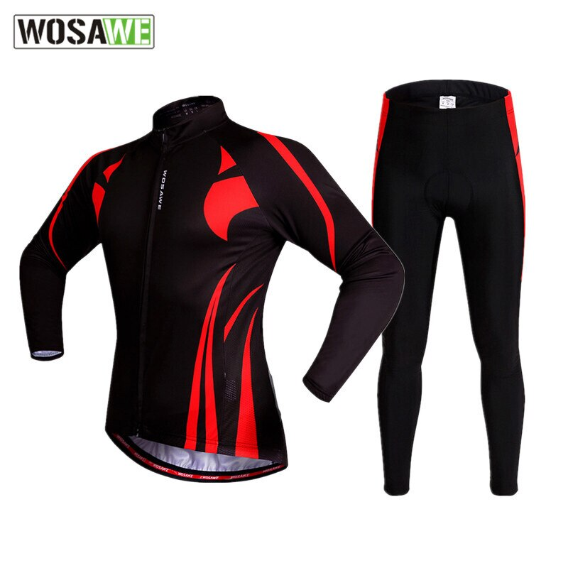 wosawe women spring autumn cycling sets long sleeve jersey set mountain bike clothing bicycle suit 4d gel pad cycling clothes WOSAWE Motorcycles Cycling Jersey Set Long Sleeved Motorbike Suit Clothing MTB Bike Bicycle Jersey Breathable Gel Pad Sportswear