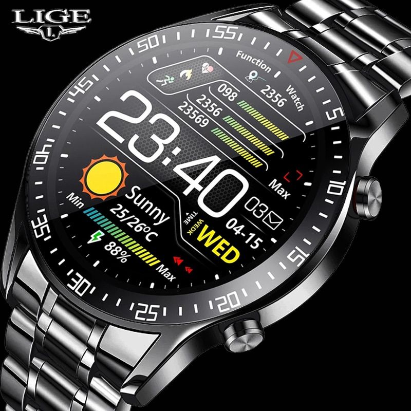 LIGE-ساعة رقمية LED بسوار فولاذي ، ساعة رياضية للرجال ، مقاومة للماء ، مع صندوق