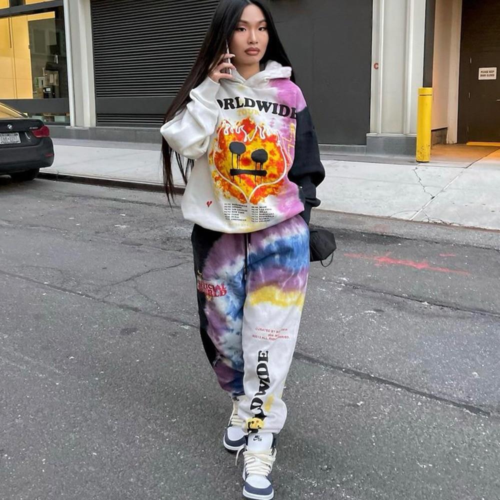 2021 ملابس رياضية شتوية الهيب هوب ربطة عنق صبغ رسالة مطبوعة للنساء قطعتين مجموعة جرافيك هوديس السراويل الدعاوى حجم كبير ملابس عصرية