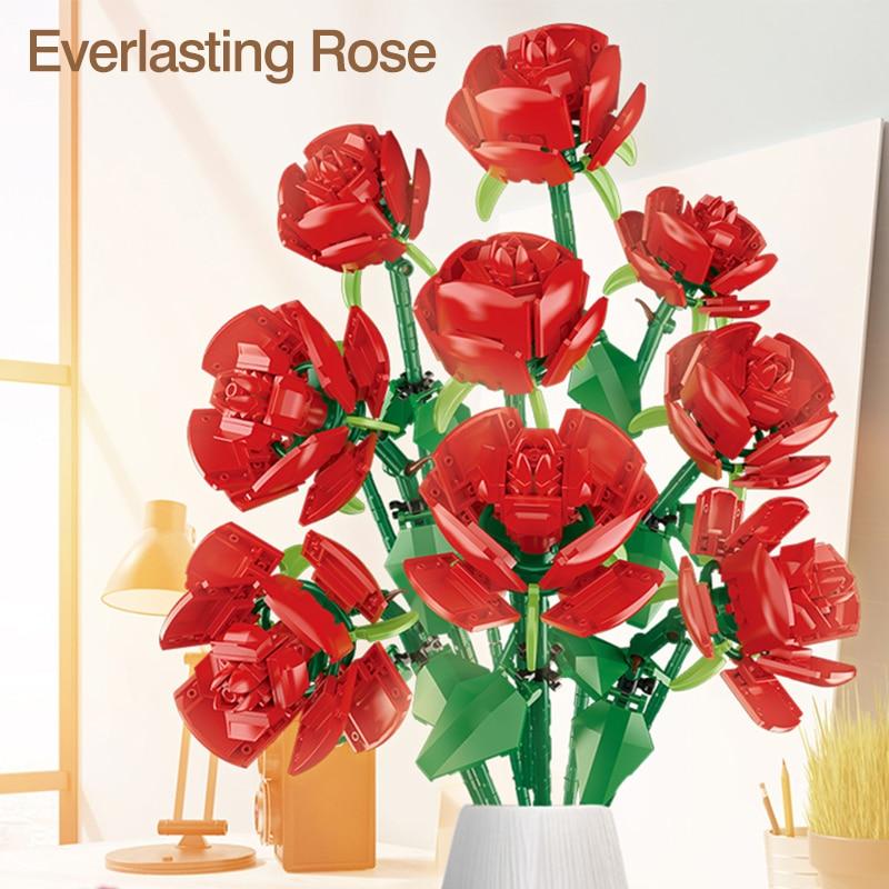 Идея букет розы, цветы, строительные блоки, подарки для девочек, мебель для дома, кирпичи для сборки, Обучающие игрушки «сделай сам»