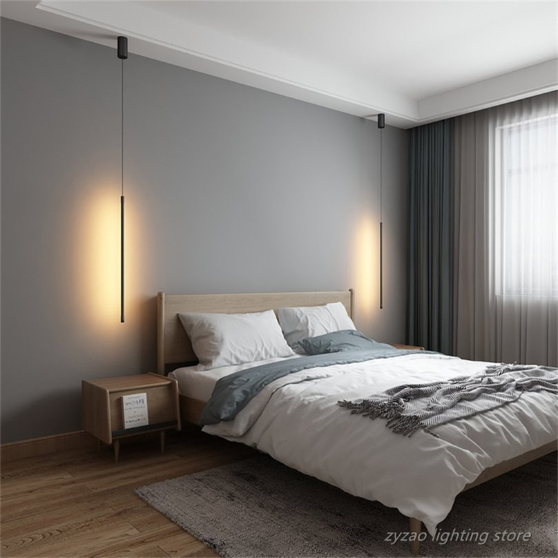 الحديثة نوم السرير قلادة Led أضواء غرفة المعيشة التلفزيون جدار ديكور قلادة LED مصابيح متدلية الهندسة خط قطاع تركيبات إضاءة معلقة