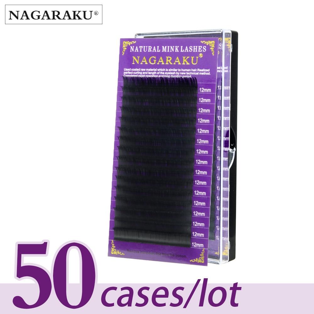 NAGARAKU-رموش مينك طبيعية فاخرة ، مكياج ، رموش فردية ، 50 صندوق/دفعة ، صناعة يدوية