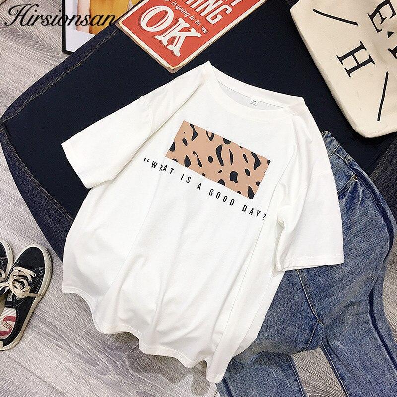 Женская футболка с леопардовым принтом Hirsionsan, Повседневная футболка с коротким рукавом и о-вырезом, весна-лето 2019