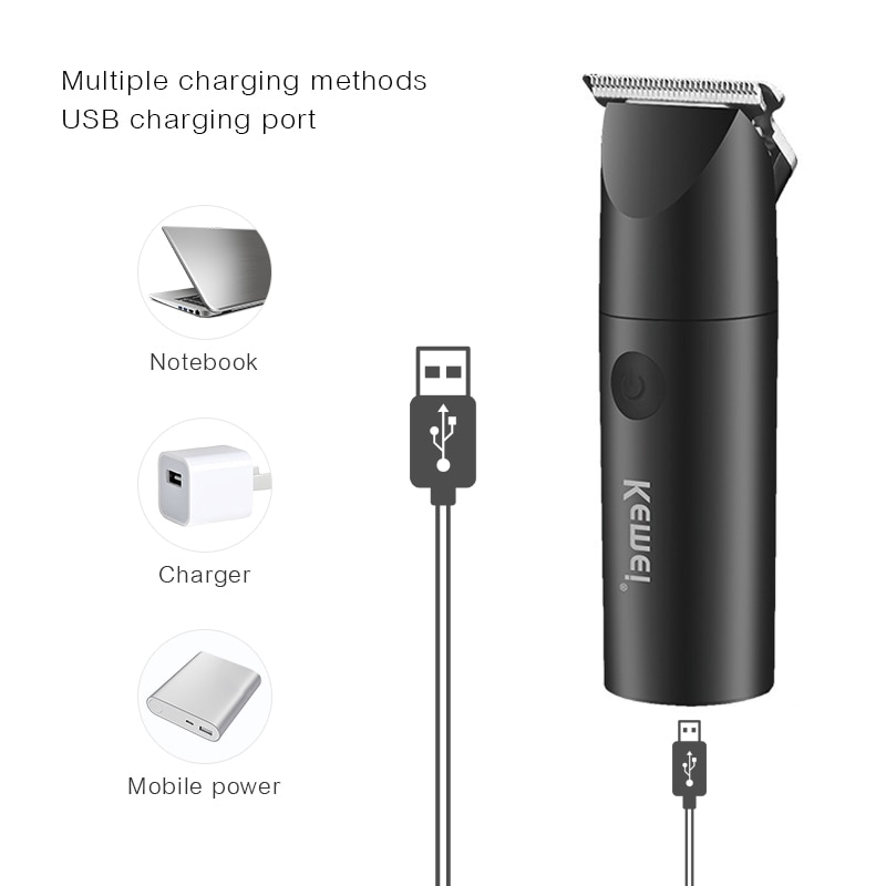 KEMEI Rechargeable Hair Clipper Carbon Steel Blade Outliner for Men Barber Cordless Portable Salon Hair Trimmer Haircut Machine enlarge