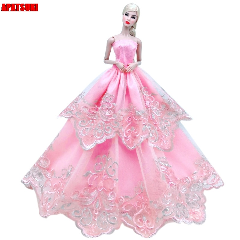 Pink Floral Lace Wedding Dress For Barbie Doll Outfits Princess Party Gown Fashion Doll Clothes For 1/6 BJD Dolls Accessories