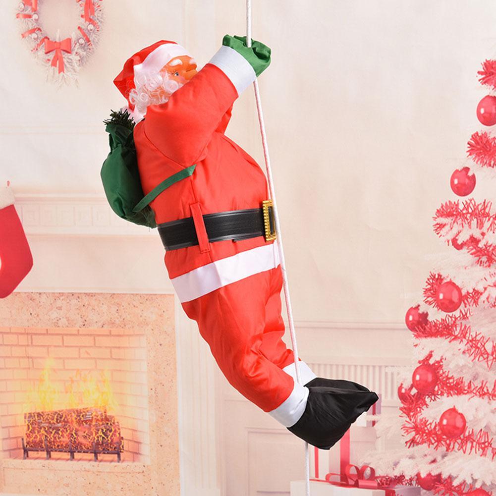 60CM muñeca de tela de Navidad colgante Navidad Santa Claus escalada en la escalera de cuerda árboles de Navidad colgante decoración de fiesta en casa