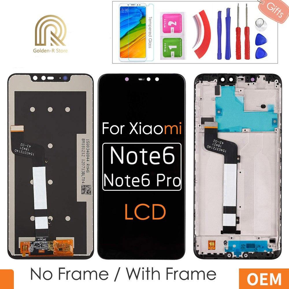 6.26 aaa aaa aaa qualidade lcd para xiaomi redmi nota 6 pro display lcd de toque digitador da tela + montagem do quadro para redmi note6 pro + presentes
