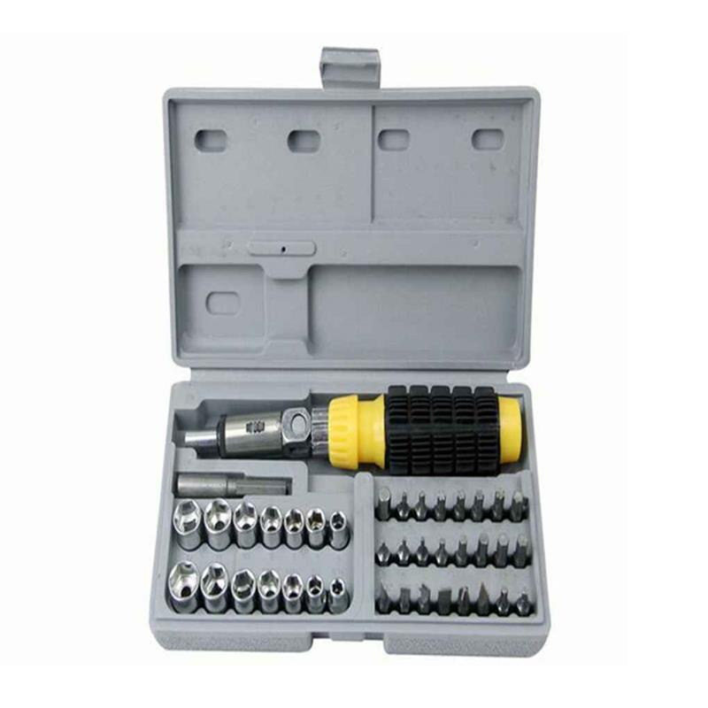 Car Repair Cr-V Hand Tool With Reversible Ratchet Screwdriver Spanner Socket Bit Combination Kit Auto Accessories