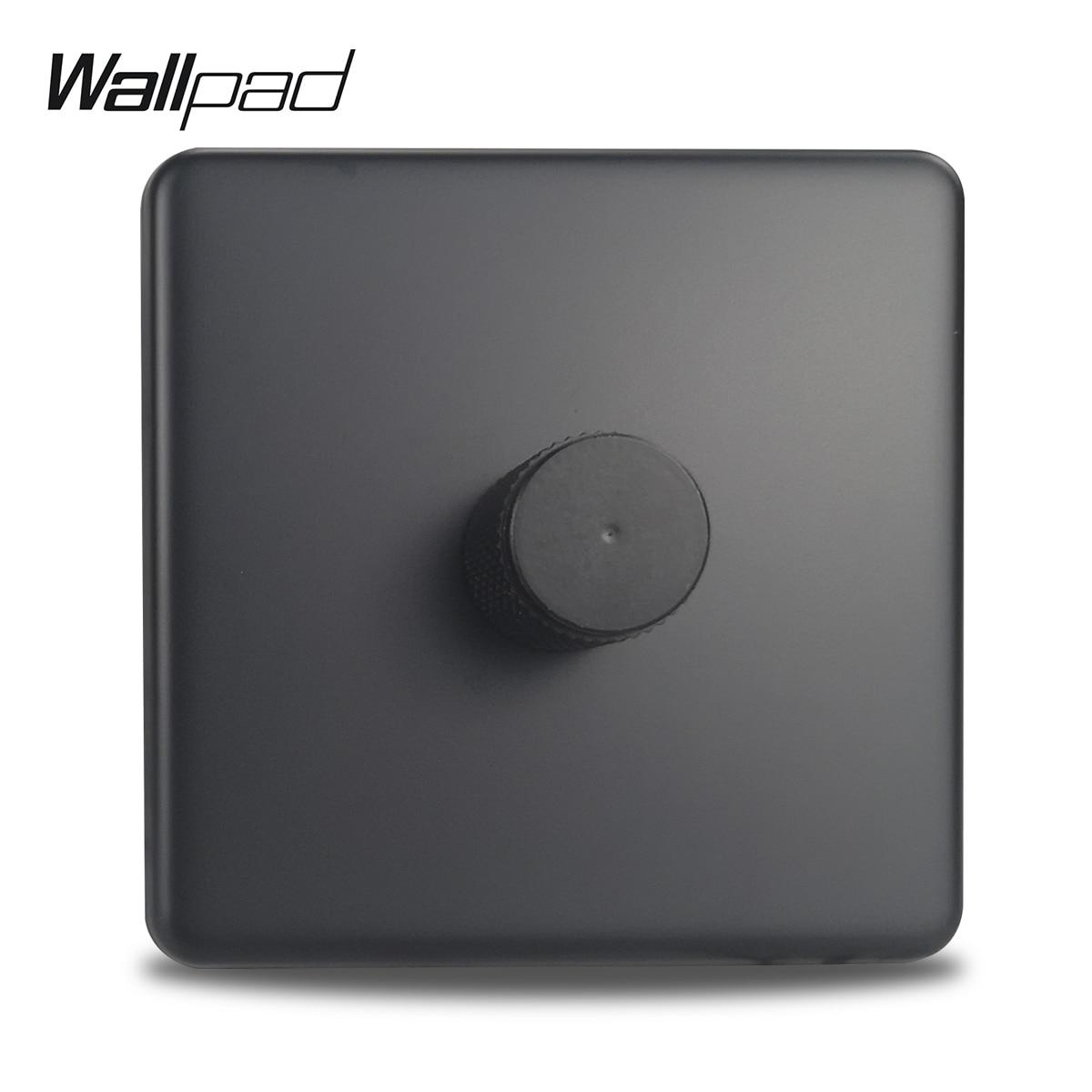 Panel de acero negro Panel de luz LED regulador de brillo de pared estándar europeo con garras caja redonda