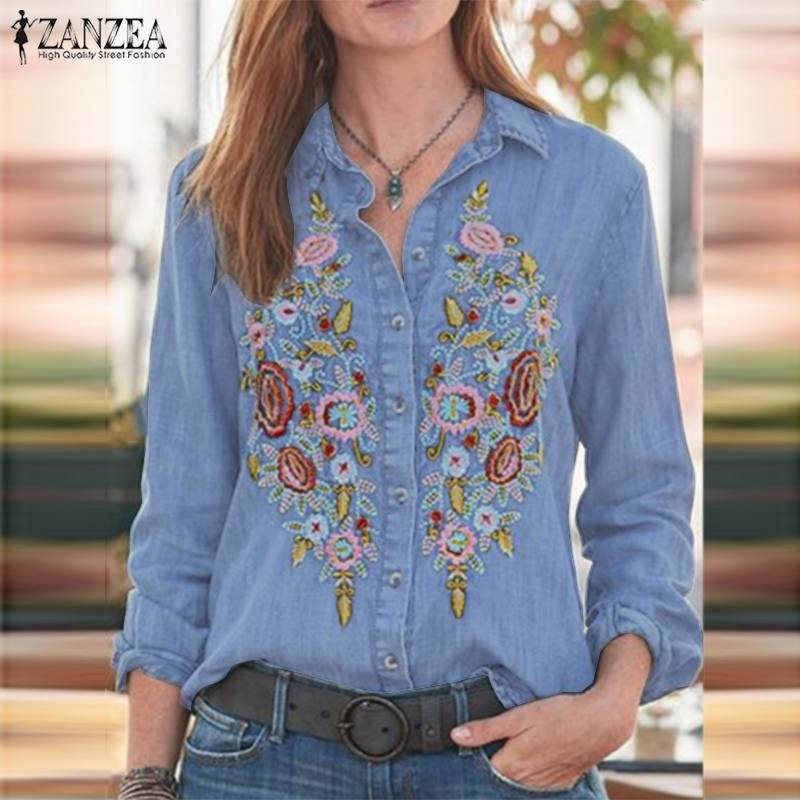 Zanzea camisa jeans casual de lapela, manga longa, bordada, floral, para trabalho, blusas para mulheres, plus size, outono 2020