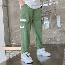 Straight Boy Spring Summer Solid Color Linen Pleated Trousers Long Pants & Capris Kids Cotton Childr