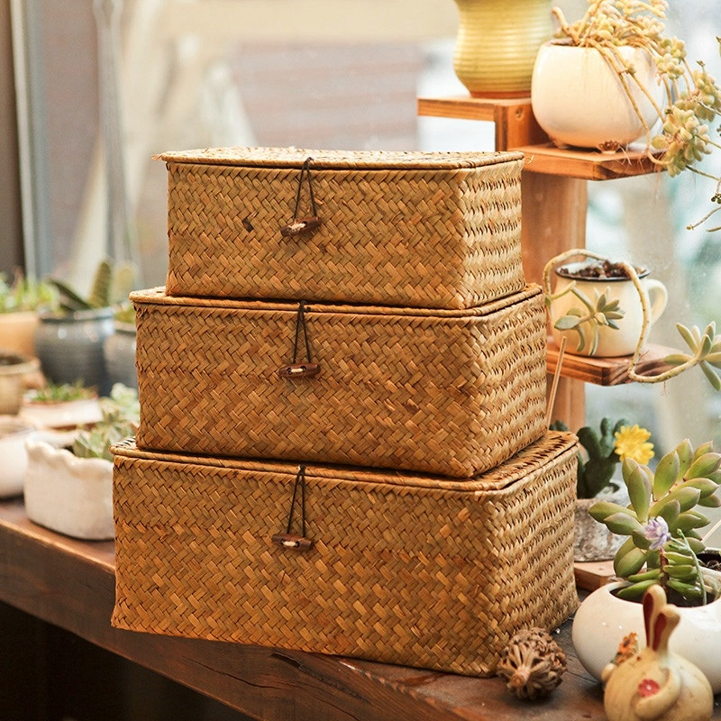 Handmade Straw Woven Storage Basket with Lid Makeup Organizer Storage Box Seagrass Laundry Baskets Rattan Jewelry Box