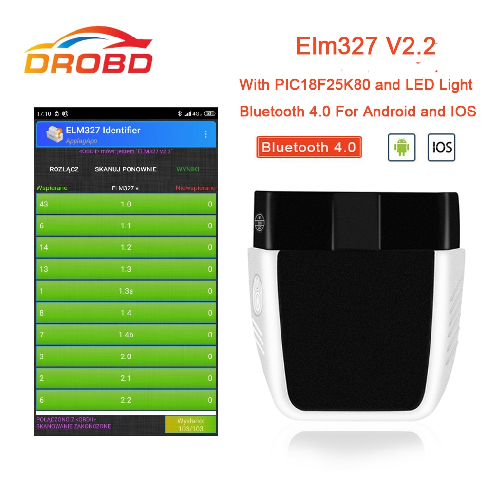 OBD2 ELM327 V2.2 diagnostic tool PIC18F25K80 Bluetooth 4.0 scan tool better than elm 327 V1.5 car diagnostics odb2 obd2 scanner