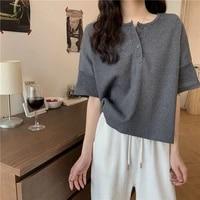 high street short sleeve t shirt womens summer 2021 new loose and thin belly covering top design bottom shirt