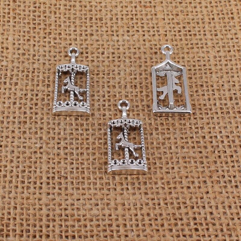 6 uds 33x15mm amuletos de carrusel de Color plateado antiguo para la fabricación de joyas, hallazgos, colgantes aptos para collar DIY, artesanía hecha a mano 3787