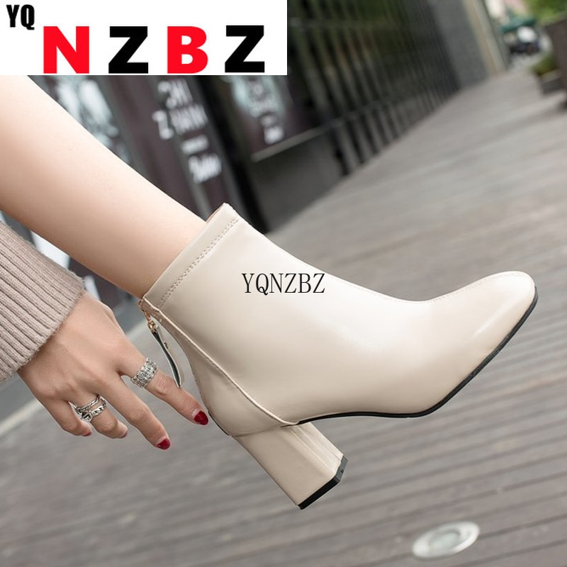 Women's Anke Boots 2021 Autumn New British Wind Women Short Boots Fashion Square Head Thick with Mid